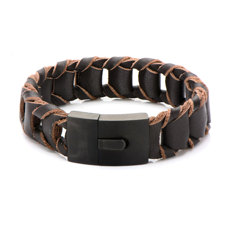 Big Fold Braided Brown Leather Bracelet