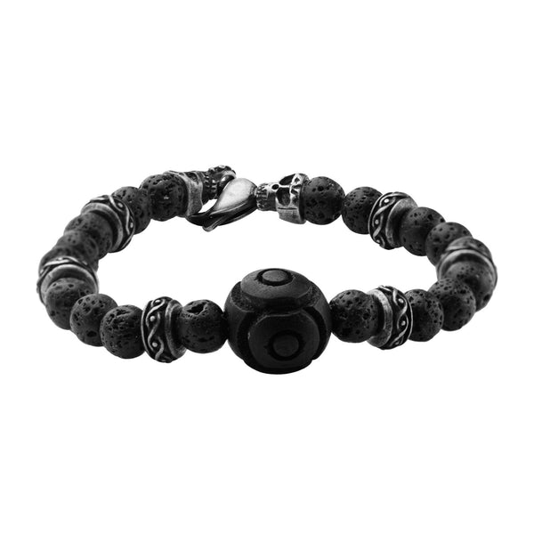 8mm Black Lava Bead & Skull Bracelet