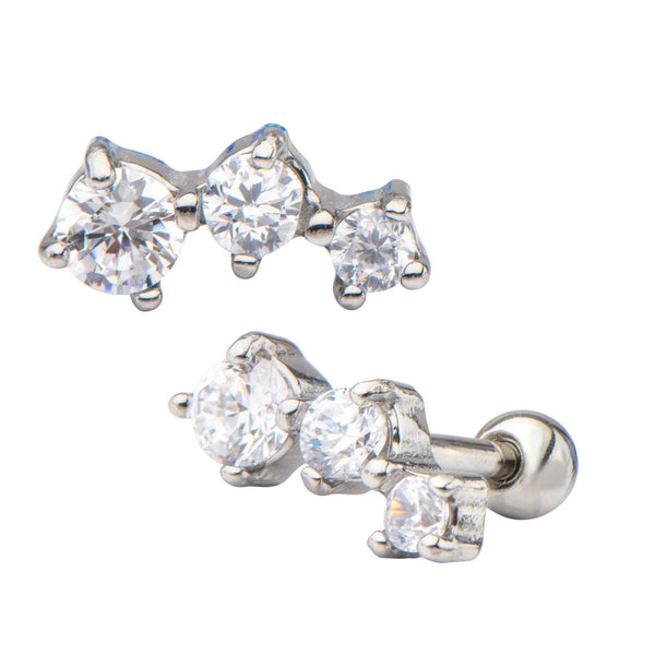 3-Clear Prong Set Gem Cartilage Earrings