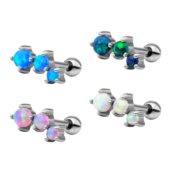 3-Prong Set Black Opal Cartilage Earrings