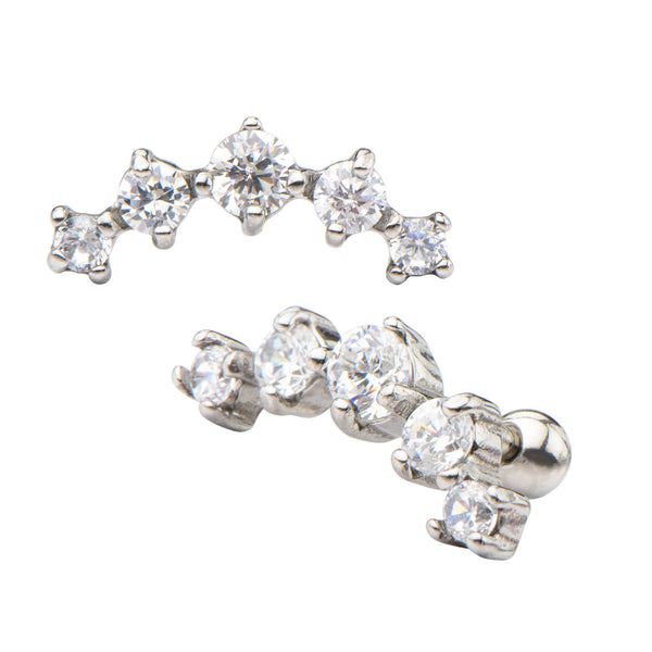 5-Clear Prong Set Gem Cartilage Earrings