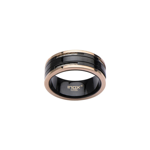 Black IP and Rose Gold IP Ring with Inlayed Cable