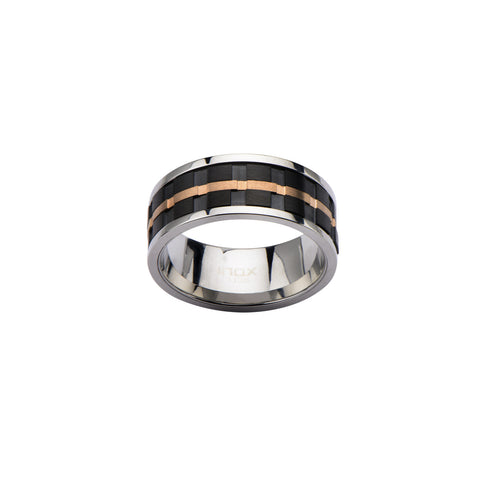 Black IP and Rose Gold IP Groove Spinner Ring