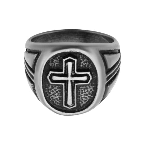 Antique Stainless Steel Cross Ring