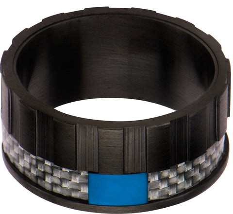 Black IP & Grey Carbon Fiber with Blue IP Accent Ring