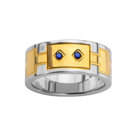 0.03Ct Sapphire Gemstone Gold IP Ring