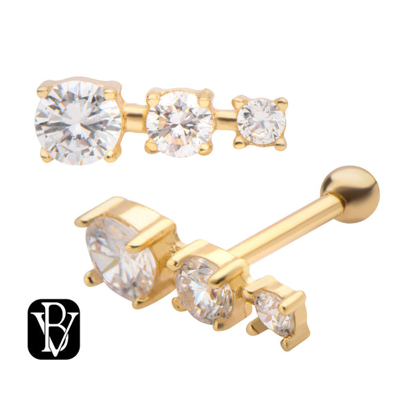14kt Gold 3 Gem Cluster Cartilage Barbell