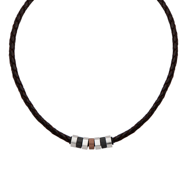 IP Black & Brown Bead Leather Necklace