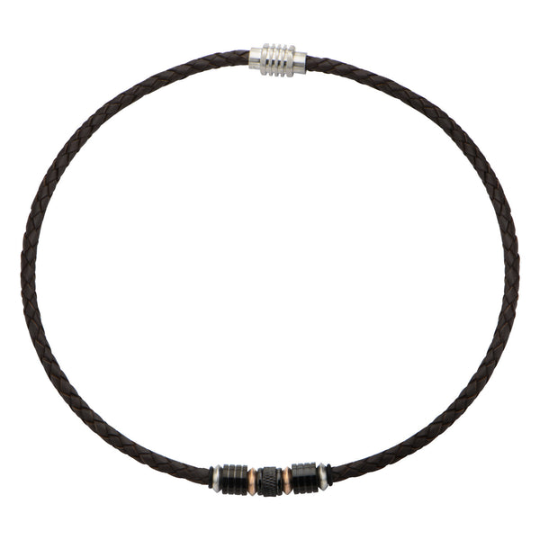 Beads in Brown Braided Leather Necklace