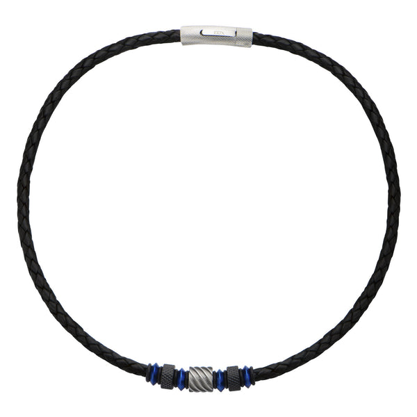 Beads in Black Braided Leather Necklace