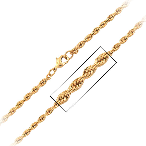 3.7mm IP Gold French Rope Chain