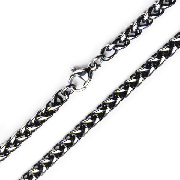 4mm Black Oxidized Wheat Chain