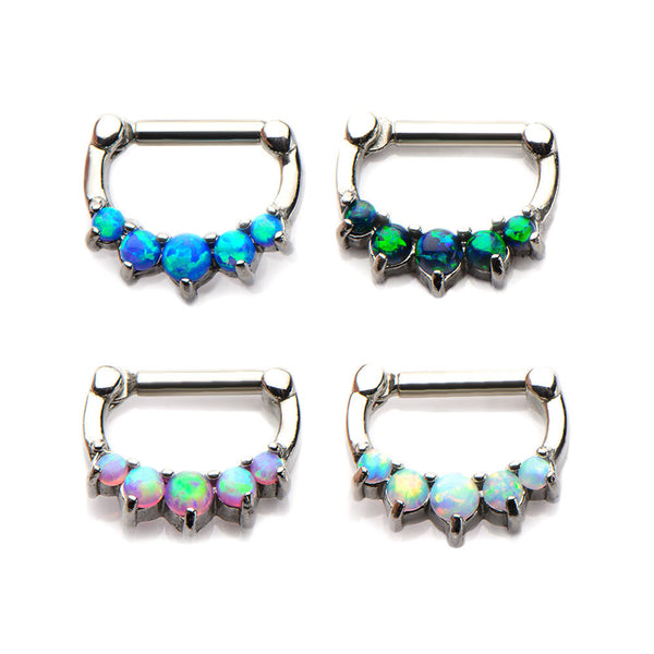 5 Prong Set Synthetic Opal Cabochons Septum Clickers