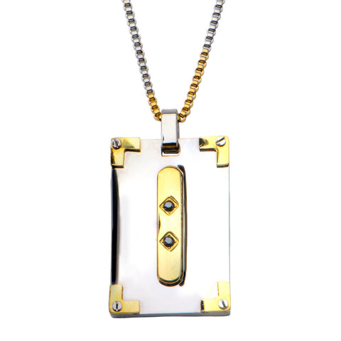 .03Ct Sapphire Gemstone Dog Tag Pendant with Two Tone Chain