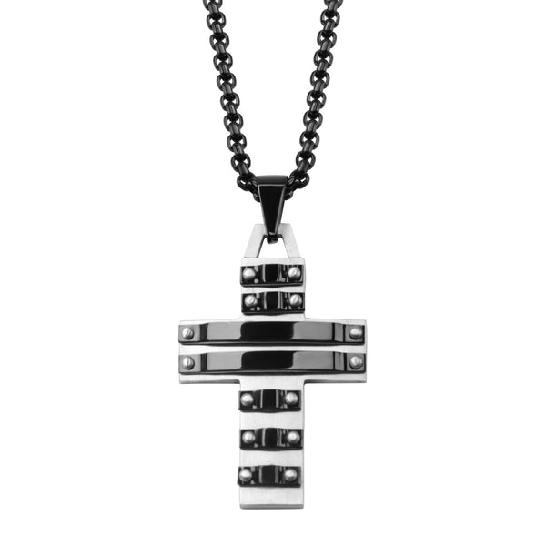 Black IP Grooved Line ID Curb Chain Necklace