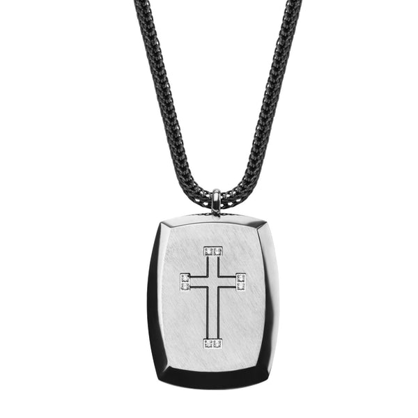 Engraved Cross with Gem Accent Pendant with Chain