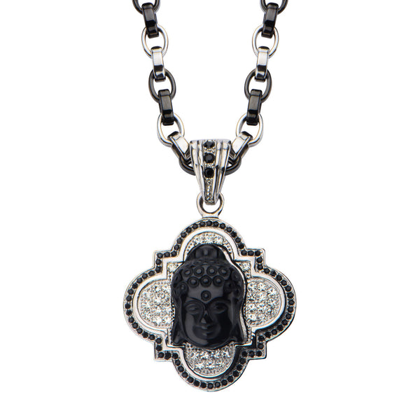 Buddha with Black Onyx Pendant with Two Tone Chain