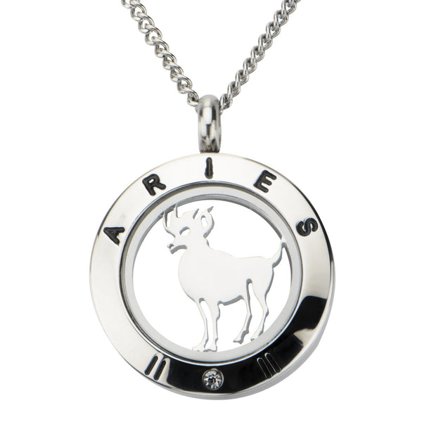 Steel Aries Zodiac Pendant with Chain