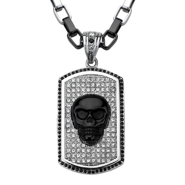 Skull with Black Onyx & Crstyal Dog Tag Pendant with Chain