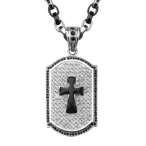Cross with Black Onyx & Crystal Dog Tag Pendant with Chain