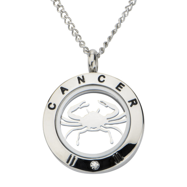 Steel Cancer Zodiac Pendant with Chain
