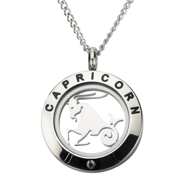 Steel Capricorn Zodiac Pendant with Chain