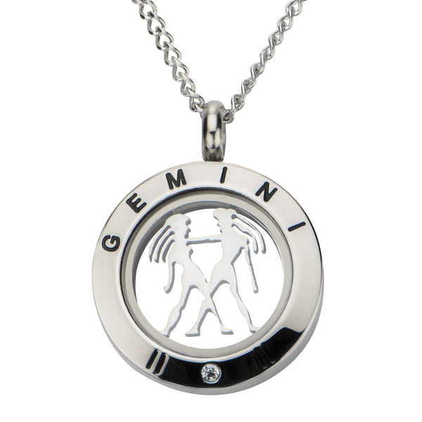 Steel Gemini Zodiac Pendant with Chain