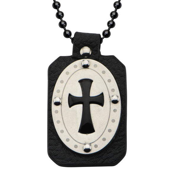 Cross in Black Leather with Black Onyx Dog Tag Pendant with Chain