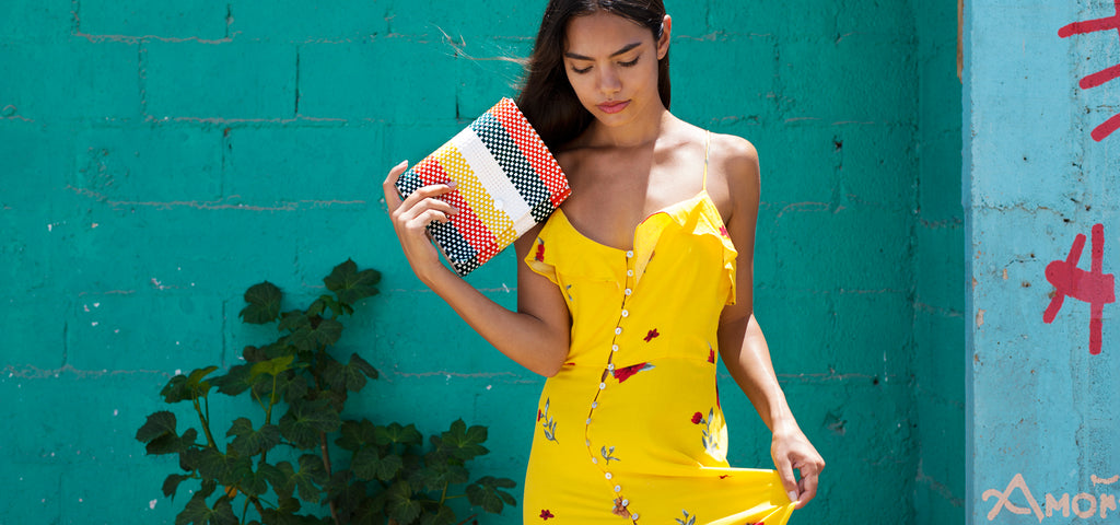 Clutch bag Baby pochette Oaxaca collection green orange yellow Amor y Mezcal