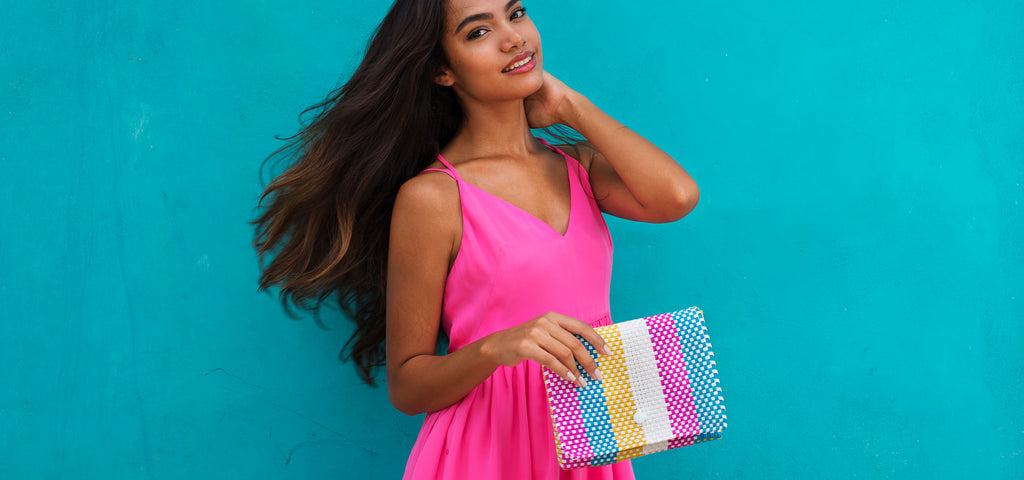 Clutch bag Baby pochette Oaxaca collection pink turquoise yellow Amor y Mezcal