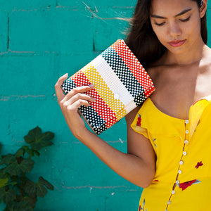 Clutch bag Baby Pochette green orange yellow model Amor y Mezcal