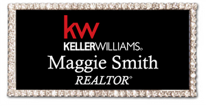 Keller Williams Name Badge - RECTANGLE BLING Black w/ Color