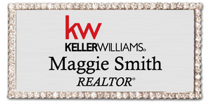 Keller Williams Name Badge - RECTANGLE BLING Silver w/ Color