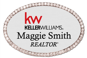 Keller Williams Name Badge - OVAL BLING Silver w/ Color