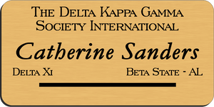 The Delta Kappa Gamma Society International Name Badge - Gold w/ Black Letters