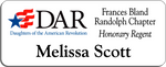 Load image into Gallery viewer, Frances Bland Randolph Chapter NSDAR Name Badge - White w/ Color