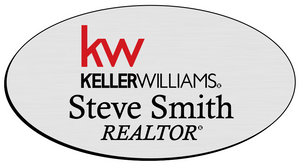 Keller Williams Name Badge - OVAL Silver w/ Color