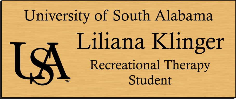 University of South Alabama Recreational Therapy Student Name Badge