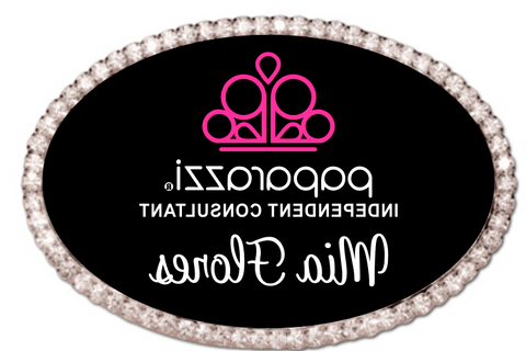 Bling Paparazzi Oval Name Badge MIRRORED  - Black w/ Color