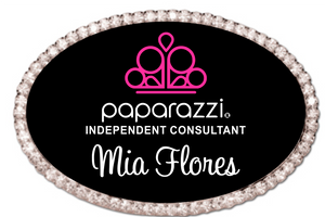 Bling Paparazzi Oval Name Badge  - Black w/ Color