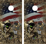 Cornhole Wrap Decal Camo Grass Bow Hunting Reaper Flag  Laminated