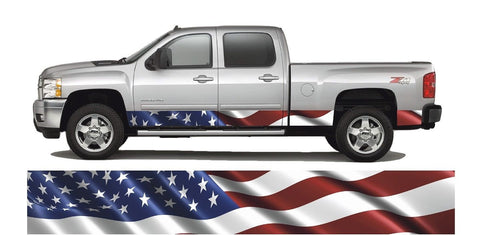 "American Flag Rocker Panel Wrap Decal 3m Cast Vinyl Truck 12"" x 24 ft Mirrored"