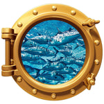 "Tuna School Underwater Porthole Wall Graphic Decal 12"" Removable Reusable"