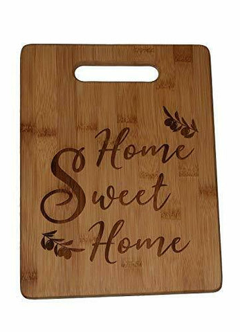Engraved Bamboo Cutting Board Gift Home Sweet Home Treated Ready to Use