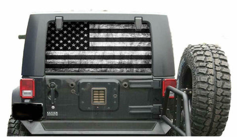 Jeep SUV Distressed Subdue  Flag Window Decal Perforated Vinyl Wrap 20x50