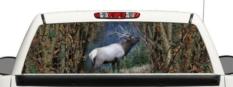 Truck SUV Rear Camo Elk Hunting Window Graphic Decal Perforated Vinyl Wrap
