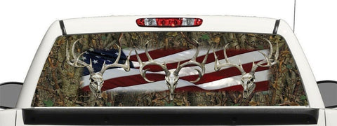 Truck SUV Deer Skull  Camo Flag Window Graphic Decal Perforated Vinyl Wrap