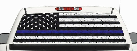 Truck SUV Police Thin Blue Line Flag Window Graphic Decal Perforated Vinyl Wrap