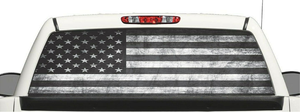 Truck SUV Distressed Subdue  Flag Window Decal Perforated Vinyl Wrap