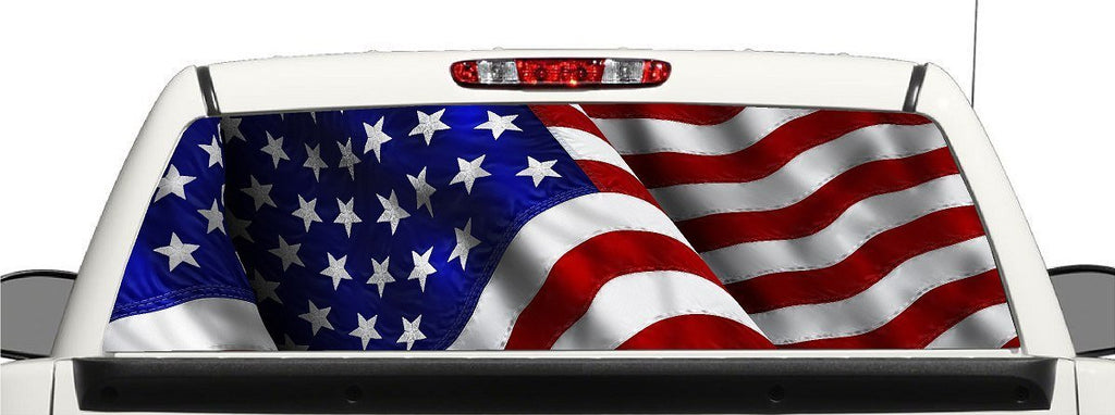 Truck SUV American Flag Rear Window Graphic Decal Perforated Vinyl Wrap